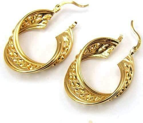 Beautiful New 18K Yellow Gold Filled 6 Row Textured Twisted Round Hoop Earrings