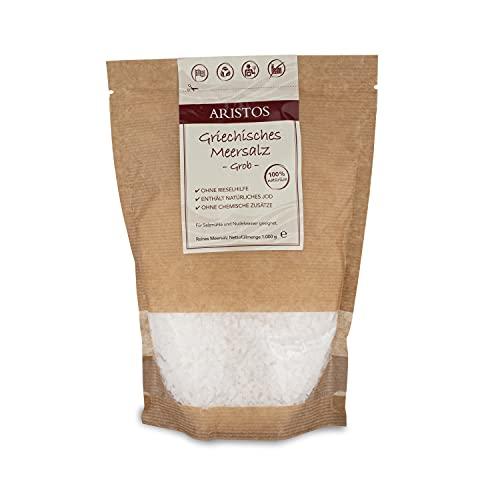 Grobes Meersalz | 1kg Salz aus Griechenland für Salzmühle, Nudelwasser uvm | ARISTOS