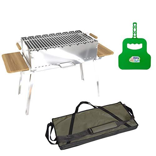 4big.fun houtskoolbarbecue, inklapbaar, van roestvrij staal, 2 mm, incl. grillrooster, grillvakken en tas, grill met zijplateaus van natuurlijk hout, mangal voor 8 spiesen, voor sjasliek, BBQ (klapgrill)