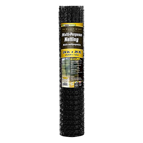 YARDGARD 889522A 1.25 Inch by 1 Inch Mesh, 2 Foot by 25 Foot Black Plastic Multi-Purpose Netting Fence