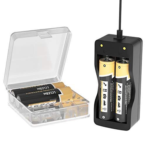 LCLEBM 4 baterías de 3400 mAh para I8-65O, punta plana 3,7 V 20 A, cargador USB de 2 bahías y carcasa de memoria de la batería para Fan Spotlight Flashlight