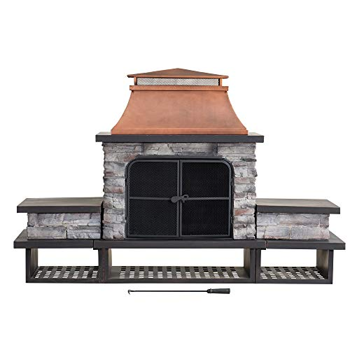 Find Bargain Sunjoy A304001201 Concordia Collection Wood Burning Fireplace, Black