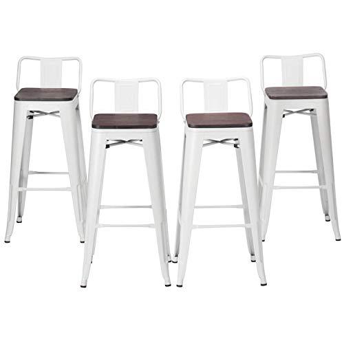 Haobo Home moderno industriale metallo sgabello [set di 4] impilabile per interni/esterni, sedia per sala da pranzo moderno 24' Low Back White Wooden Seat