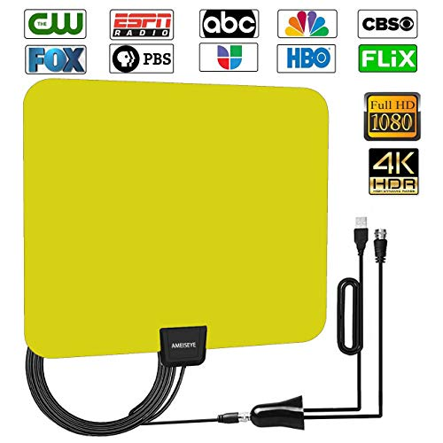 Digital Amplified HD TV Antenna 50-80 Mile Range -[Upgraded 2018] Support 4K 1080p and All TV's w/Detachable HDTV Amplifier Signal Booster Sliver
