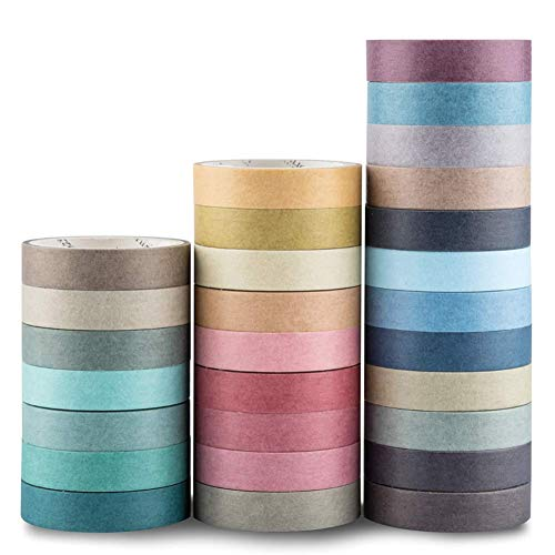 Yubbaex Washi Tape Set cinta adhesiva decorativa Washi Glitter Adhesivo de Cinta Decorativa para DIY Crafts Scrapbooking 28 Rollos