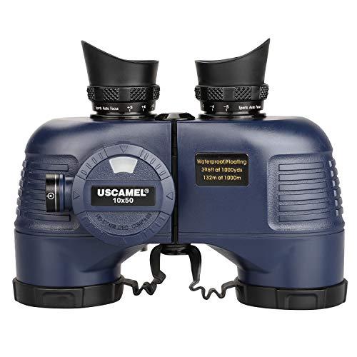 USCAMEL 10x50 Marine Binoculars for Adults, Waterproof Binoculars with Rangefinder Compass,BAK4 Prism FMC Lens Binoculars with Tripod Adapter for Navigation Bird Watching Hunting