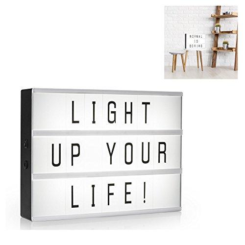 Kreatives Kino Leuchtschild in der Größe A4 zum selbst gestalten, mit 85 Zeichen - Buchstaben Zahlen und Sonderzeichen, kabelloser batteriebetrieb