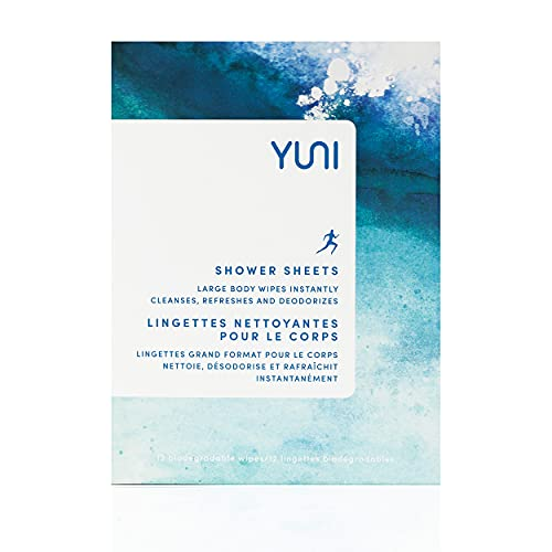 YUNI Beauty Large Body Wipes (Peppermint Citrus, 12 Count) Super Soft Moist Showerless Wipes that Cleanse & Deodorize - On-the-Go No Rinse Body Cleanser - Biodegradable Individually Wrapped Body Wipes for Camping, Travel, or Gym