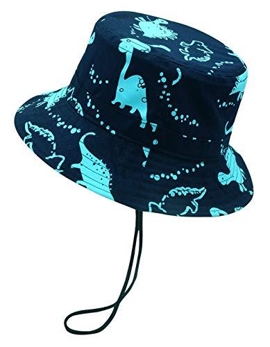 Happy Cherry - Sombrero de Sol para Niños Bebé 6-12 Meses Primavera Verano Infantil Gorra de Pescador Bucket Hat de Estampado de Dinosaurio para Playa Viajes Vacaciones Algodón - Azul Oscuro - 48cm