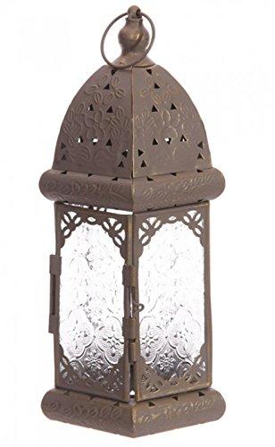 Grijze Marokkaanse Stijl Metalen en Glas Lantaarn - Driehoek Patroon