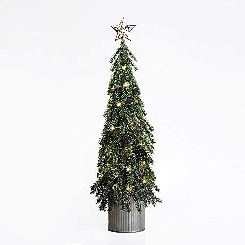 N/H Emadgift Pre-lit Artificial Mini Christmas Tree in Metal Bucket Base 20 Inch with 35 LED Lights for Christmas Tabletop Decor and Indoor Decor
