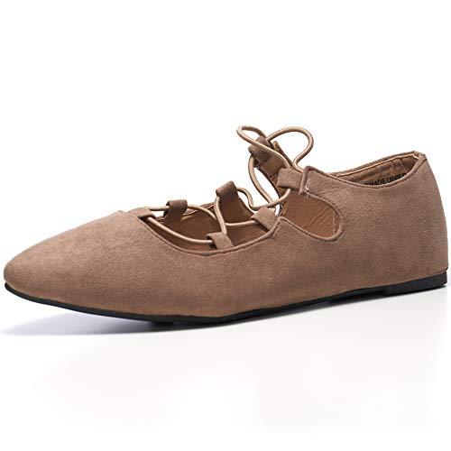Alpine Swiss Elena Womens Pointed Toe Ballet Flats Strappy Slip-On Flat Shoes BGE 7 M US Beige