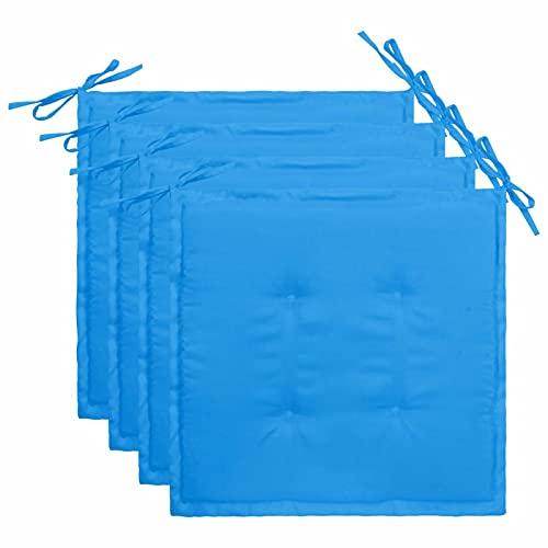 Tidyard Cojines para Silla de jardín 4 Unidades Tela Azul 50x50x4 cm Cojines de Asiento para Sillas de Jardín Cojín de Silla de Comedor