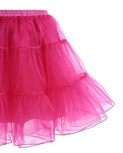 Gardenwed Kurz Damenrock 1950 Petticoat Reifrock Unterrock Tutu Minirock Ballett Tanzkleid Underskirt Crinoline für Rockabilly Kleid Red L - 4