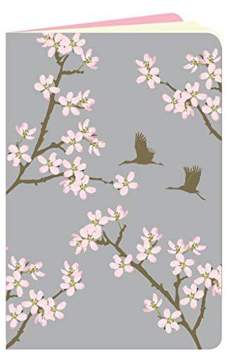 Kleines Notizheft A6 dotted Kirschblüten & Kraniche Flowerpower Softcover mit abgerundeten Ecken, 64 Seiten