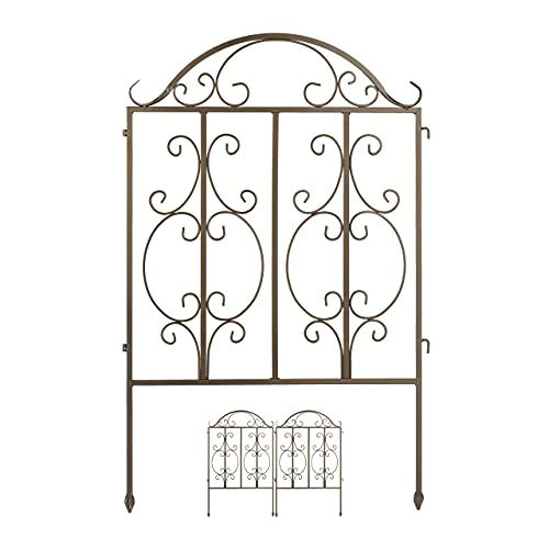 Relaxdays Gartenzaun aus Stahl, Zaunstecksystem 3er Set, verzierter Vorgartenzaun, Zaunelement HxB: 98 x 63,5 cm, Bronze