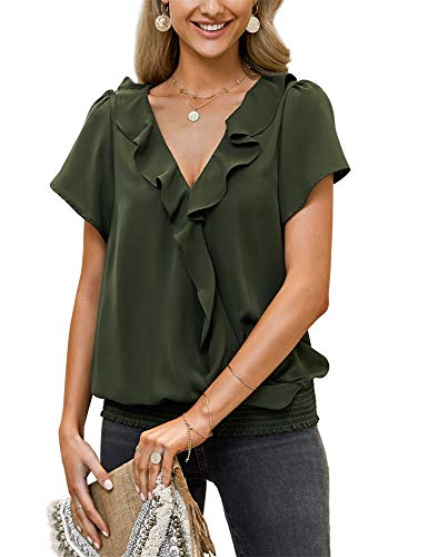 Xineppu Womens Ruffle V Neck Blouses Flare Short Sleeve Plain Chiffon Shirts Top Army Green