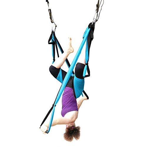 DAS Leben Hamaca Correa Volar para Yoga Pilates Gimnasia A¨¦rea, Carga de 200kg (azul)