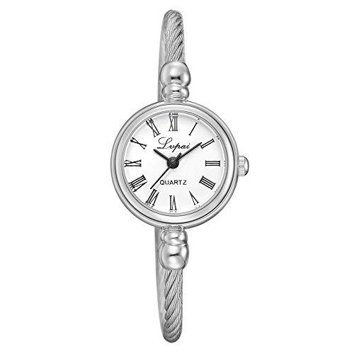 Powzz - Reloj inteligente retro con correa de reloj de pulsera y cadena de reloj de moda, reloj de pulsera, color blanco