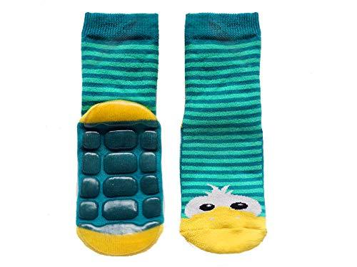 Weri Spezials baby- en kindersokken met ABS anti-slip sokken stopper sokken 'eenden' blauw/groen