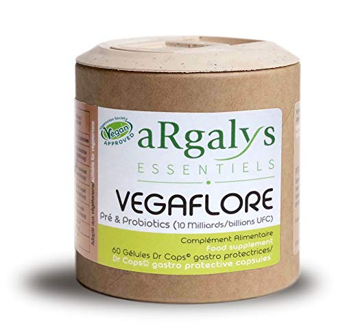 Vegaflore Ferments Lactiques - 10 Milliards d'UFC/jour - Prébiotiques - Bactéries actives - 60 Gélules Gastro-Résistantes Vegan - Argalys Essentiels