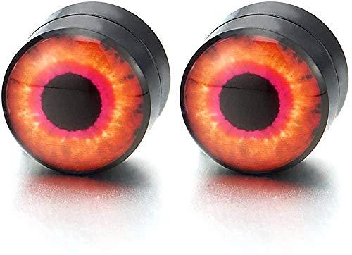 NC188 Pendientes de botón de Ojo Malvado de círculo Negro magnético de 8 mm para Hombres Mujeres Clip no perforante en medidores de Oreja Falsos