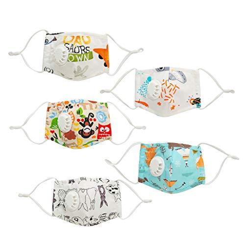 Skang Infantil 5pcs Protector Facial Tela con Válvulas de Respiración+Filtros de Carbón Activo Visera Facial Protección Respiratoria - Floral Impresión