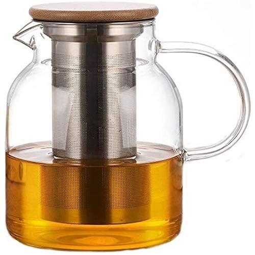 Bouilloire induction Maison Théière Verre avec fuite de thé Verre résistant à la chaleur Théière transparente et filtre 1000ml pour bureau de cuisine extérieur WHLONG