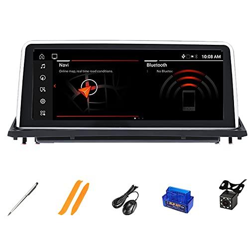 HAZYJT Radio Estéreo del Coche Pantalla Táctil HD Navegación GPS con Control De Volante Bluetooth Coche Reproductor De DVD Multimedia Compatible con B-MW X5 E70 X6 E71 2007-2013