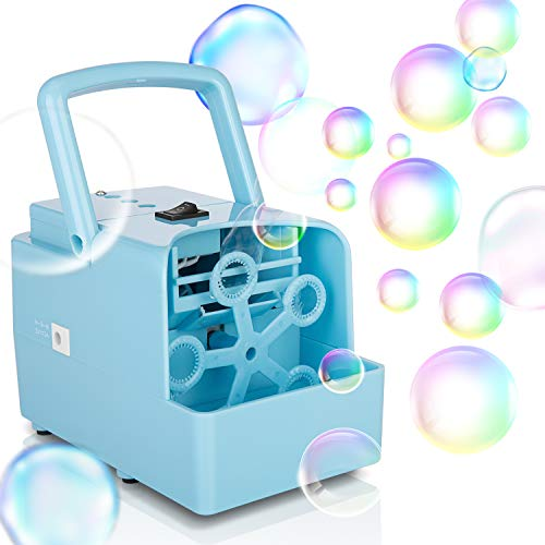 KIDWILL Bubble Machine, Portable Bubble Maker Toy for Kids Toddlers, Durable Automatic Bubble Blower, 2 Speed Levels for Outdoor Wedding Birthday Party, Powered by Plug-in or Battery(Included)