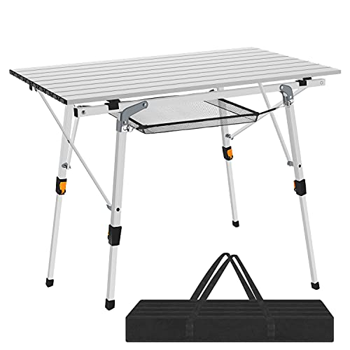 Nestling Picnic Folding Tables Aluminum Table for Outdoor Dining Tables for Camping/Banquet/Picnic Party/Garden BBQ - Adjustable in Height (Silver)
