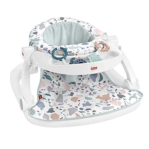 Fisher-Price Asiento para suelo plegable con bandeja estampado terrazzo regalo para bebés hasta 11 kg (Mattel HBD68)