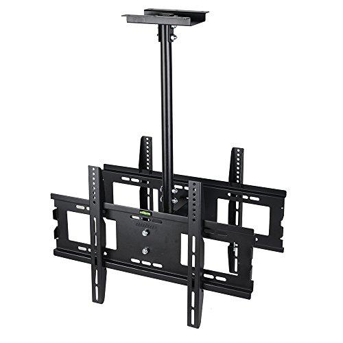 UNHO Doble Soporte TV Techo para 32-65 Pulgadas, Soporte de Techo para Televisión LED LCD Plasma, Altura Ajustable de 600-995mm, Inclinable de 20°, Carga Máx 45kg VESA 600 x 400