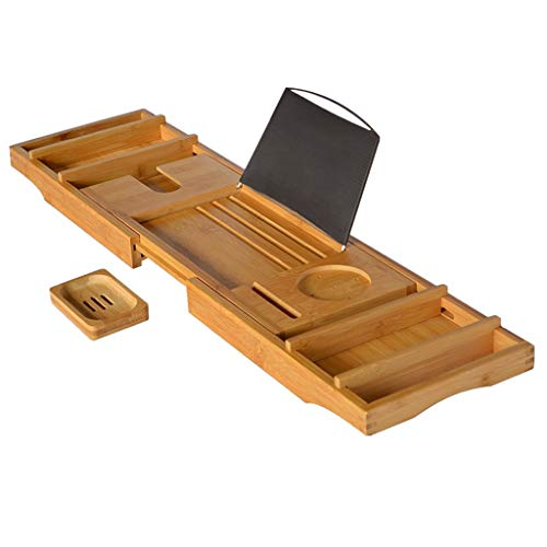 JRAVELR Eco-Friendly Bamboo Bath Tray, Expandable Bath Tub Tray Rack Can Hold Towels Wine Glasses Books Mobile Phones Tablets