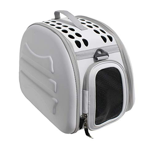 YATEK Transportin para Perros y Gatos Plegable y Lavable, Recomendado para Mascotas de hasta 6kg de Color Gris Claro