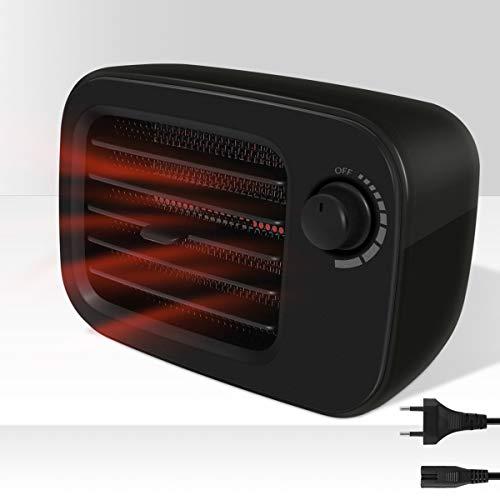 Calefactor de cerámica Uong 500 W, portátil, USB, recargable, PTC, con protección antivuelco y contra sobrecalentamiento, calentamiento rápido de 3 segundos para hogar y oficina, Negro