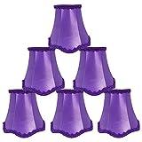 DULEE Set of 6 Top 3 x Height 4.7 x Bottom 5 inches Clip on Petits Abat-Jour pour Bougie Cristal Lustre Applique Murale Droplight,Violet