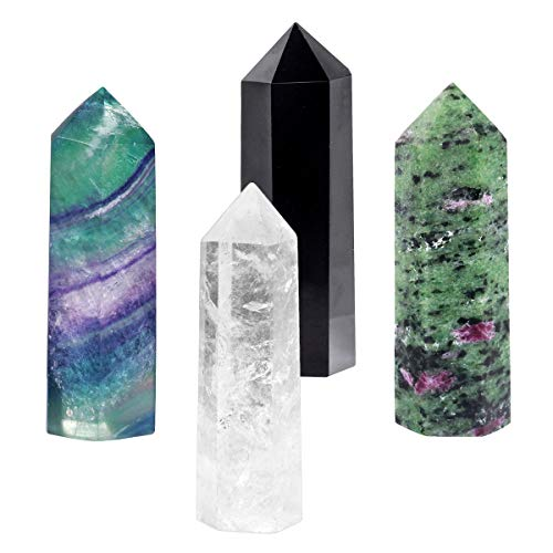 SUNYIK Gemstone Healing Crystal Points Wand, Single Terminated Wand Prism for Meditation, Fluorite Ruby in Fuchsite Rock Quartz Black Obsidian, Pack of 4