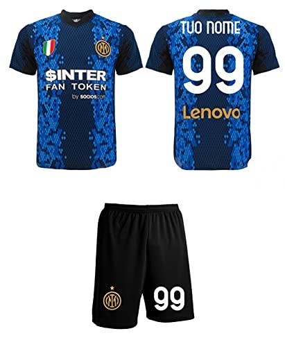 Completo Inter 2022 Personalizzato Ufficiale 2021-2022 Maglia e Pantaloncini Adulto Ragazzo Bambino Tuo Nome e Numero (S Adulto)
