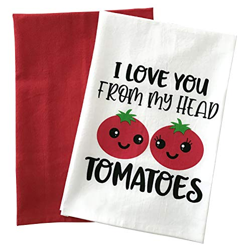 Kitchen Towels Set, Funny Dish Towels, I Love You from My Head Tomatoes, Flour Sack Towels, Set of Two White and Red, Farmhouse Decor, Cute Housewarming Gift, Fun Present for Christmas or Birthday