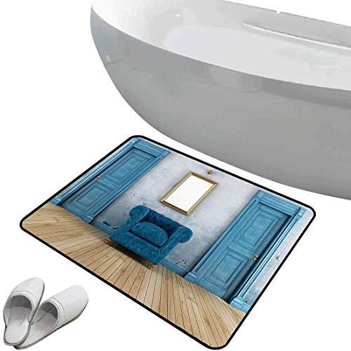 Alfombra de baño antideslizante de felpudo Antiguo Alfombrilla goma antideslizante Sillón de dos puertas vacías y espejo simple con marco de color dorado,,Interior/Exterior/Puerta de entrada/Entrada/D