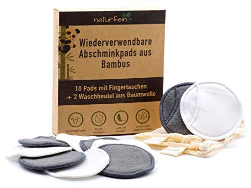 naturfein® 10 Waschbare Abschminkpads aus Bambus - wiederverwendbare Abschminktücher als nachhaltige Alternative für Einmal Wattepads - inkl. E-Book Ratgeber & 2 mal Wäschenetz