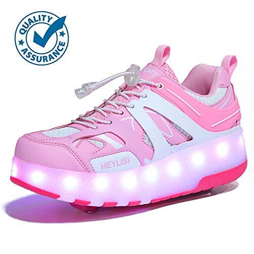 WXBXIEJIA USB Recargable LED Luz Moda Aire Libre Parpadea Ajustable Rueda Roller Automática De Skate Zapatillas con Ruedas Zapatos Patines Deportes Sneakers Running Shoes para Unisex 28-40Pink-37