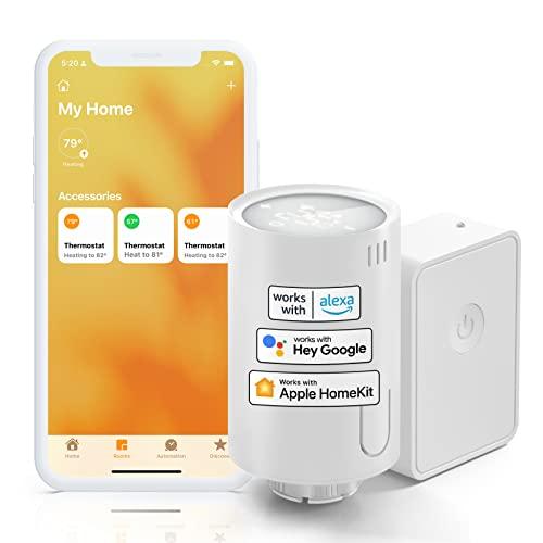 [Upgrade] Meross Smart Heizkörperthermostat inklusive Hub, kompatibel mit HomeKit, WLAN Heizungsthermostat Kompatibel mit Siri, Alexa und Google Assistant, Fernsteuerung, M30*1,5mm, 6 Adapter