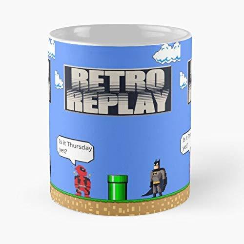 N\A Replay 8Bit Retro - La Mejor Taza de cerámica de 11 onzas - Taza clásica para café, té, Chocolate o café con Leche
