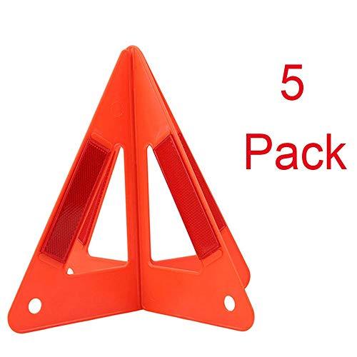 KDKDA Paquete de 5 triángulos Reflectantes Rojos de Advertencia de Emergencia...