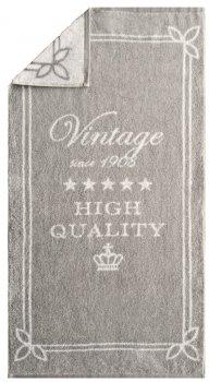 Fram fils Nostalgie Vintage Tissu éponge serviette de douche Gris, Blanc, à motifs 80 x 160 cm