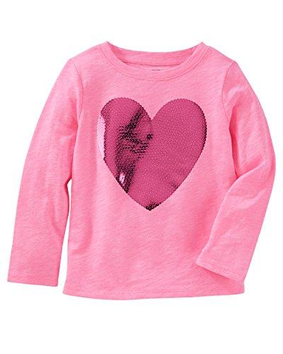 Osh Kosh Girls' Long Sleeve Tee, Pink Heart, 9 Months