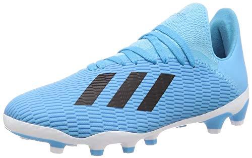 Adidas X 19.3 MG J, Botas de fútbol Unisex niño, Bleu Cyan Noir Rose Flash, 32 EU