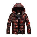 SXSHUN Niños Chaqueta Impermeable de Camuflaje de Invierno Abrigo Acolchado de Algodón para Chicos, Naranja, 15-16 años (Etiqueta: 170cm)